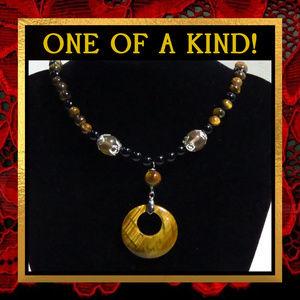 Tigereye & Black Agate Necklace  #257
